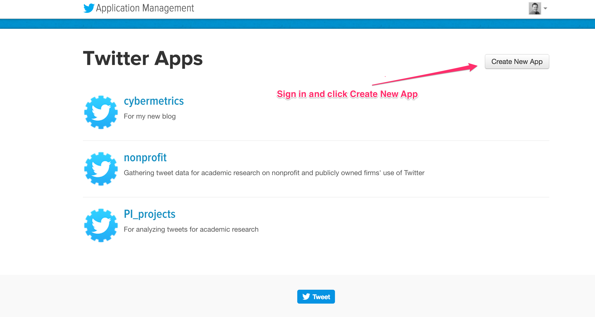 Setting up Access to the Twitter API